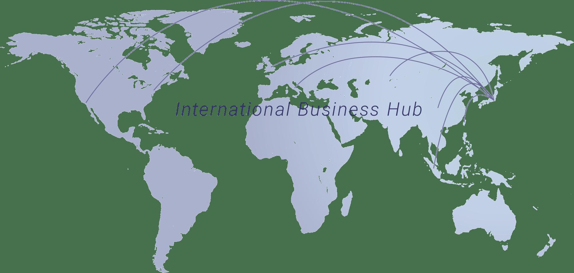 世界地図を用いて、ミナトマネジメントからたくさんの線が伸び、世界と繋いでいる図