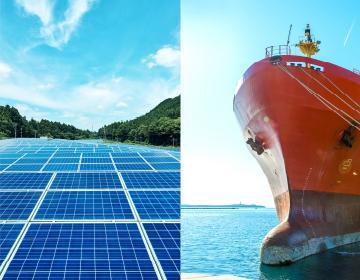 太陽光発電の再生可能エネルギーと、船舶の交通インフラの写真を用いた、主なファンド事業を表した写真
