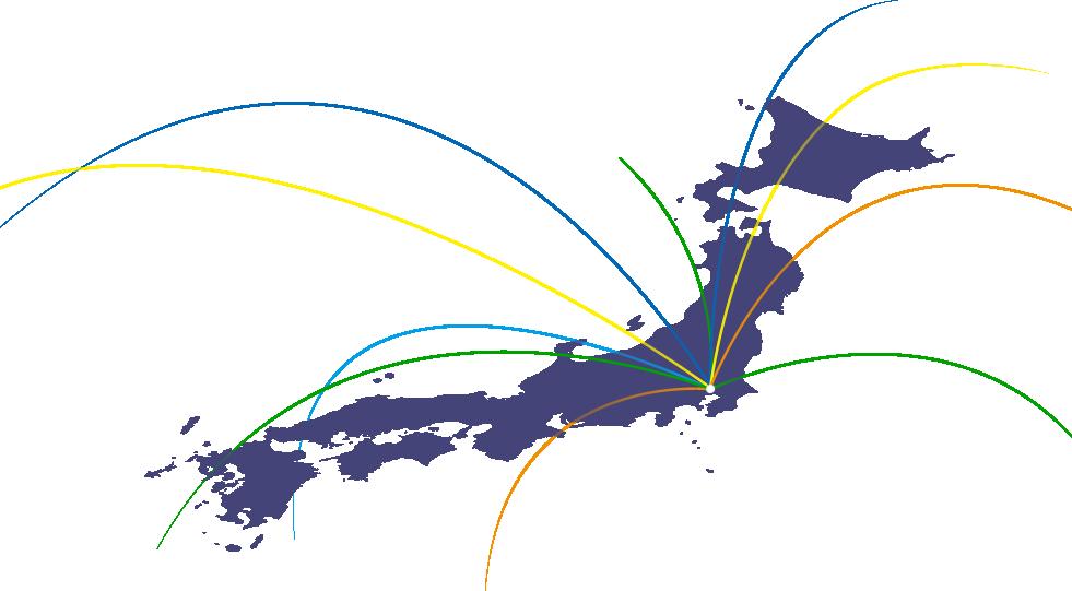 日本地図の東京(ミナトマネジメント)からたくさんの線が伸び、世界と繋いでいる図