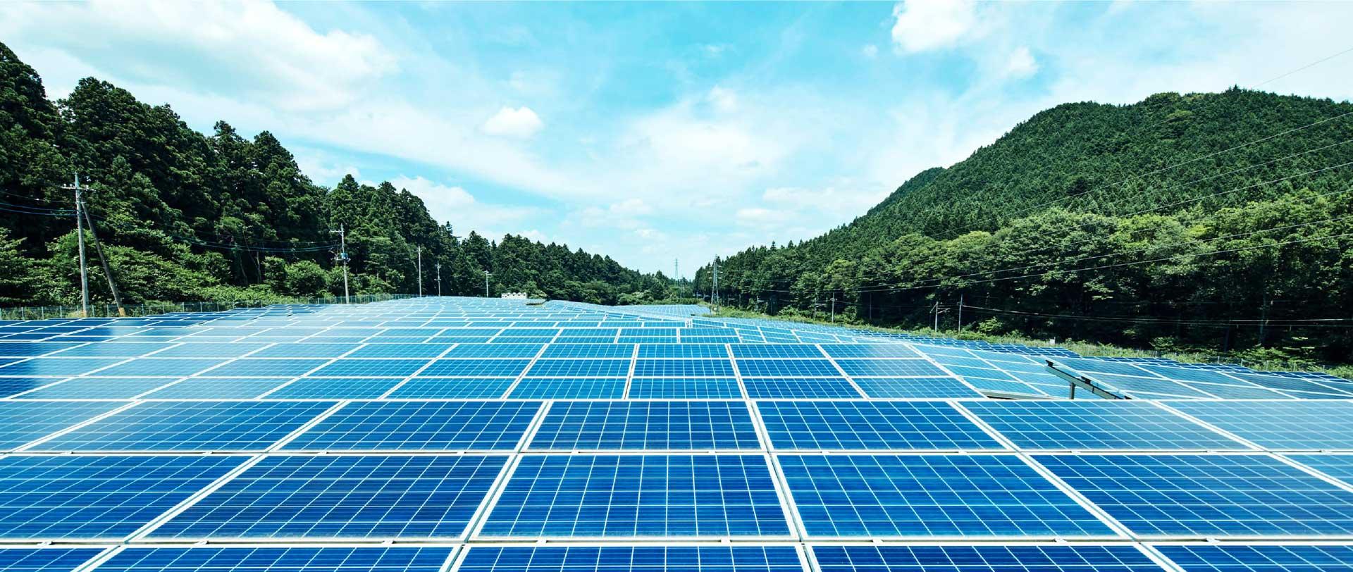 太陽光発電の写真を用いた再生可能エネルギーのイメージ